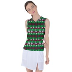 Snow Trees and Stripes Women s Sleeveless Mesh Sports Top
