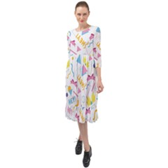 1 Arnold Ruffle End Midi Chiffon Dress