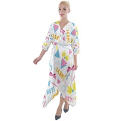 1 Arnold Quarter Sleeve Wrap Front Maxi Dress