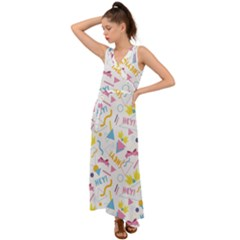 1 Arnold V Neck Chiffon Maxi Dress