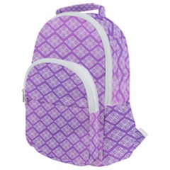 Pattern Texture Geometric Purple Rounded Multi Pocket Backpack