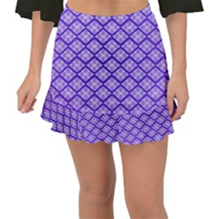 Pattern Texture Geometric Violet Fishtail Mini Chiffon Skirt