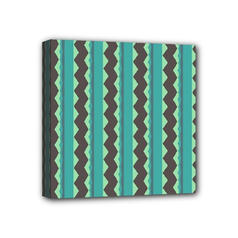 Background Chevron Blue Mini Canvas 4  X 4  (stretched)