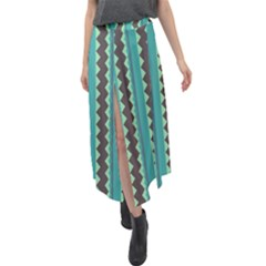 Background Chevron Blue Velour Split Maxi Skirt by HermanTelo