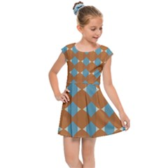 Pattern Brown Triangle Kids  Cap Sleeve Dress by HermanTelo