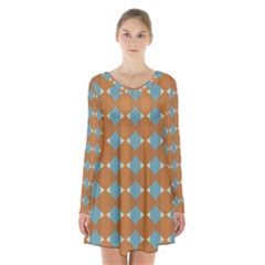 Pattern Brown Triangle Long Sleeve Velvet V-neck Dress
