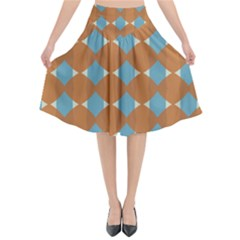 Pattern Brown Triangle Flared Midi Skirt