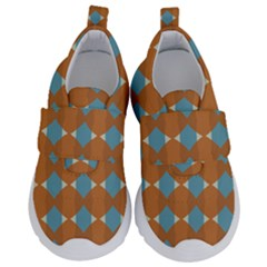 Pattern Brown Triangle Kids  Velcro No Lace Shoes by HermanTelo