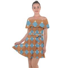 Pattern Brown Triangle Off Shoulder Velour Dress by HermanTelo