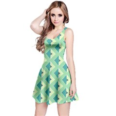 Background Chevron Green Reversible Sleeveless Dress
