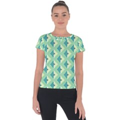 Background Chevron Green Short Sleeve Sports Top  by HermanTelo
