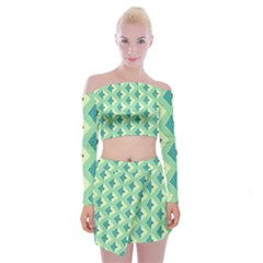Background Chevron Green Off Shoulder Top With Mini Skirt Set