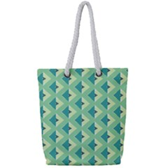 Background Chevron Green Full Print Rope Handle Tote (small)