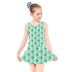 Background Chevron Green Kids  Skater Dress Swimsuit