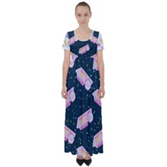 1 Arnold Dunkaroos Funfetti Print Dark Blue 1 High Waist Short Sleeve Maxi Dress