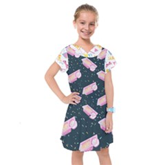 1 Arnold Dunkaroos Funfetti Print Dark Blue 1 Kids  Drop Waist Dress