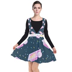 1 Arnold Dunkaroos Funfetti Print Dark Blue 1 Plunge Pinafore Dress
