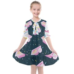 1 Arnold Dunkaroos Funfetti Print Dark Blue 1 Kids  All Frills Chiffon Dress
