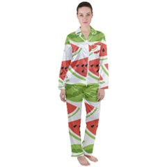 Watermelon Juice Auglis Clip Art Watermelon Satin Long Sleeve Pyjamas Set