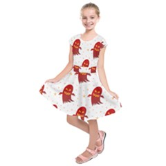 Ghost Halloween Drawing Flower Leaf Kids  Short Sleeve Dress