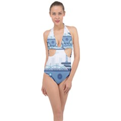 Blue City Building Fantasy Halter Front Plunge Swimsuit