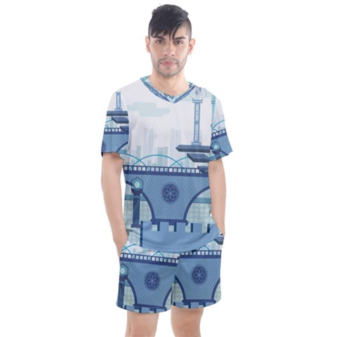 Blue City Building Fantasy Men s Mesh Tee And Shorts Set by Vaneshart