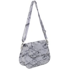 White Marble Texture Floor Background With Black Veins Texture Greek Marble Print Luxuous Real Marble Saddle Handbag