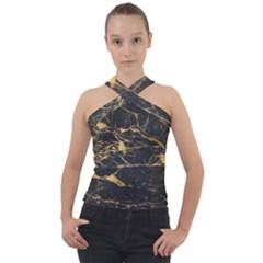 Black Marble Texture With Gold Veins Floor Background Print Luxuous Real Marble Cross Neck Velour Top by genx