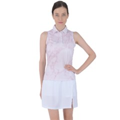 Pink Marble Texture Floor Background With Light Pink Veins Greek Marble Print Luxuous Real Marble  Women's Sleeveless Polo by genx