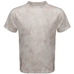 Pink Marble Beige Texture Floor Background With Shinny Pink Veins Greek Marble Print Luxuous Real Marble  Men s Cotton Tee by genx