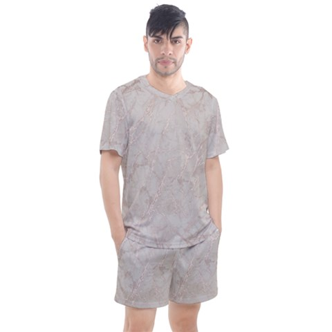 Pink Marble Beige Texture Floor Background With Shinny Pink Veins Greek Marble Print Luxuous Real Marble  Men s Mesh Tee And Shorts Set by genx