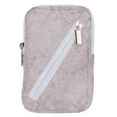 Pink Marble Beige Texture Floor Background With Shinny Pink Veins Greek Marble Print Luxuous Real Marble  Belt Pouch Bag (small) by genx