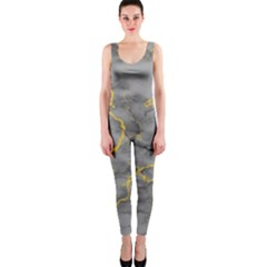 Marble Neon Retro Light Gray With Gold Yellow Veins Texture Floor Background Retro Neon 80s Style Neon Colors Print Luxuous Real Marble One Piece Catsuit by genx