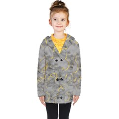 Marble Neon Retro Light Gray With Gold Yellow Veins Texture Floor Background Retro Neon 80s Style Neon Colors Print Luxuous Real Marble Kids  Double Breasted Button Coat by genx