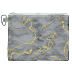 Marble Neon Retro Light Gray With Gold Yellow Veins Texture Floor Background Retro Neon 80s Style Neon Colors Print Luxuous Real Marble Canvas Cosmetic Bag (xxl) by genx
