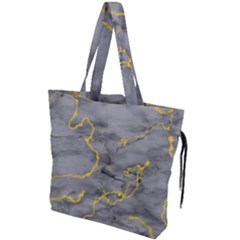 Marble Neon Retro Light Gray With Gold Yellow Veins Texture Floor Background Retro Neon 80s Style Neon Colors Print Luxuous Real Marble Drawstring Tote Bag by genx