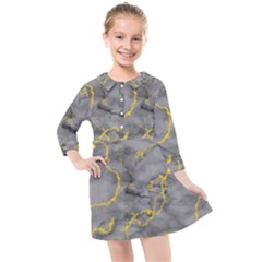 Marble Neon Retro Light Gray With Gold Yellow Veins Texture Floor Background Retro Neon 80s Style Neon Colors Print Luxuous Real Marble Kids  Quarter Sleeve Shirt Dress by genx