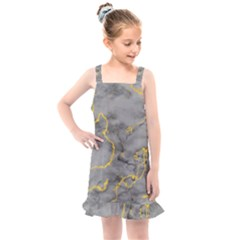 Marble Neon Retro Light Gray With Gold Yellow Veins Texture Floor Background Retro Neon 80s Style Neon Colors Print Luxuous Real Marble Kids  Overall Dress by genx