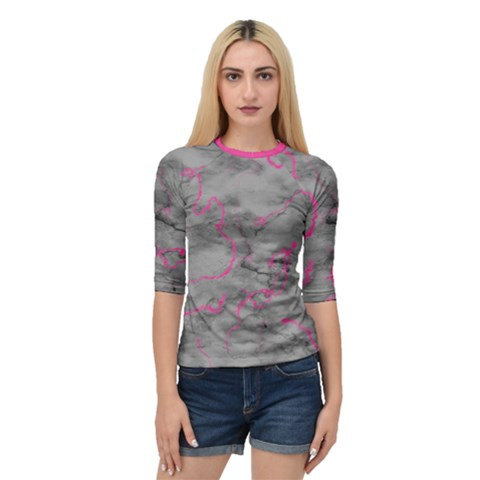 Marble Light Gray With Bright Magenta Pink Veins Texture Floor Background Retro Neon 80s Style Neon Colors Print Luxuous Real Marble Quarter Sleeve Raglan Tee by genx