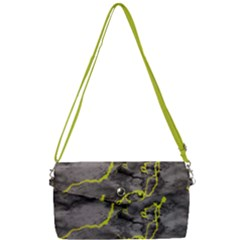 Marble Light Gray With Green Lime Veins Texture Floor Background Retro Neon 80s Style Neon Colors Print Luxuous Real Marble Removable Strap Clutch Bag by genx
