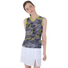 Marble Light Gray With Green Lime Veins Texture Floor Background Retro Neon 80s Style Neon Colors Print Luxuous Real Marble Women s Sleeveless Mesh Sports Top by genx