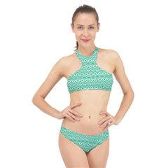 Pattern Green High Neck Bikini Set