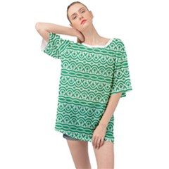 Pattern Green Oversized Chiffon Top
