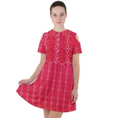 Background Texture Pattern Red Short Sleeve Shoulder Cut Out Dress