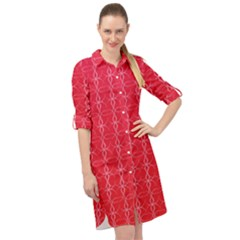 Background Texture Pattern Red Long Sleeve Mini Shirt Dress