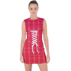 Background Texture Pattern Red Lace Up Front Bodycon Dress