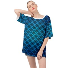 Pattern Texture Geometric Blue Oversized Chiffon Top