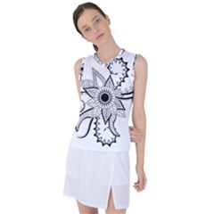 Elegant Decorative Abstract Flower Women s Sleeveless Mesh Sports Top