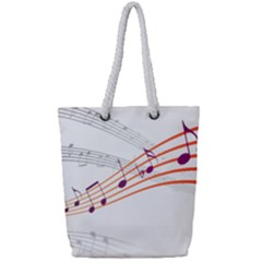 Music Notes Clef Sound Full Print Rope Handle Tote (small)