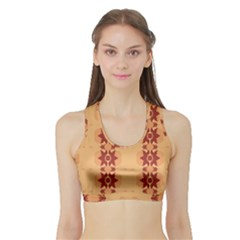 Brown Flower Sports Bra With Border by HermanTelo